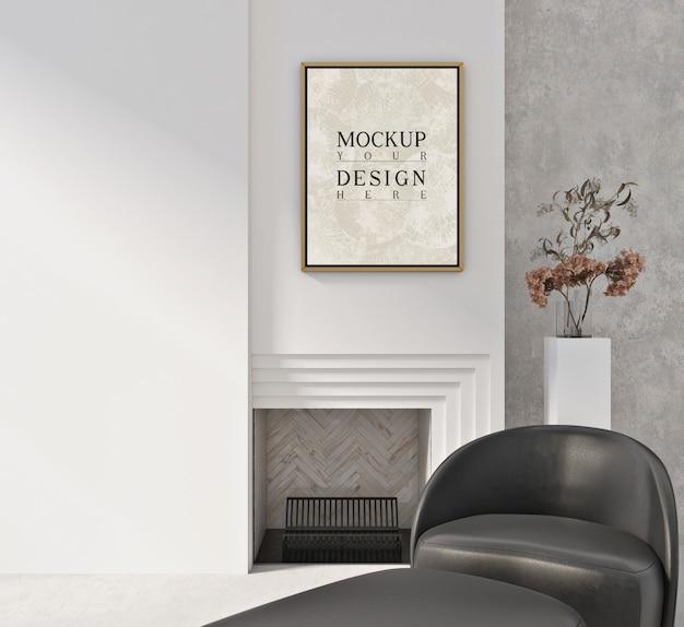 Makieta ramy w nowoczesnym białym wnętrzu z fotelem i siedziskiem otomana