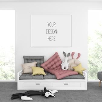 Makieta ramy w pokoju dziecięcym z białą ramą poziomą