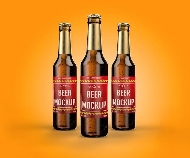 Makieta realistyczne butelki piwa i etykiety dla projektu