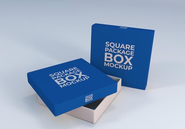 Makieta realistyczne pudełko z minimalnym kwadratowym pakietem