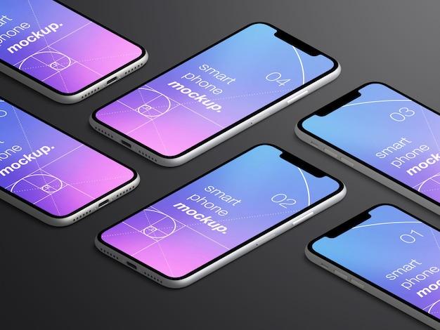 Makieta realistycznych izolowanych izometrycznych ekranów aplikacji na smartfony
