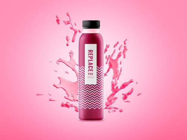 Makieta reklamowa z minimalnym rozchlapaniem butelki z wodą