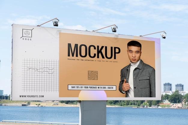 Makieta reklamowa z młodym mężczyzną