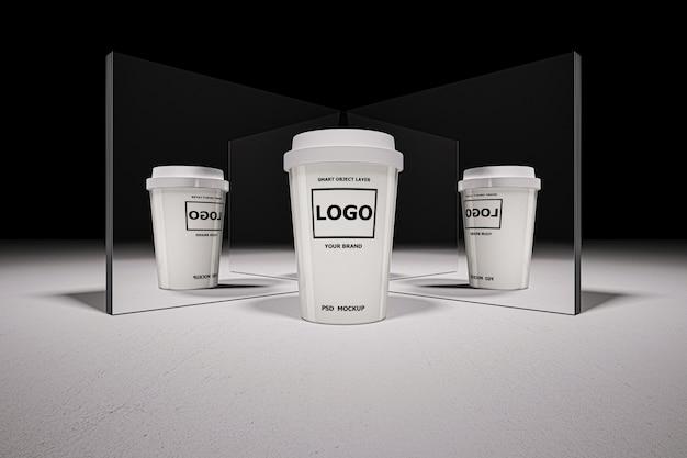 Makieta renderingu 3d białej filiżanki kawy
