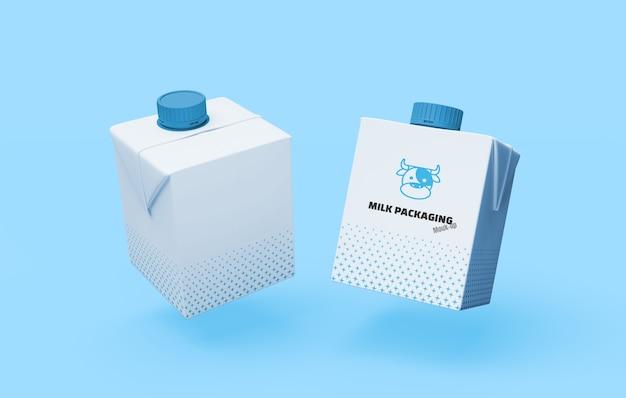 Makieta renderowania 3d mleka pasteryzowanego box