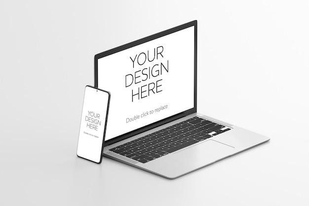 Makieta renderowania 3d na białym tle urządzeń