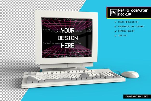 Makieta renderowania 3d realistyczny komputer retro na białym tle