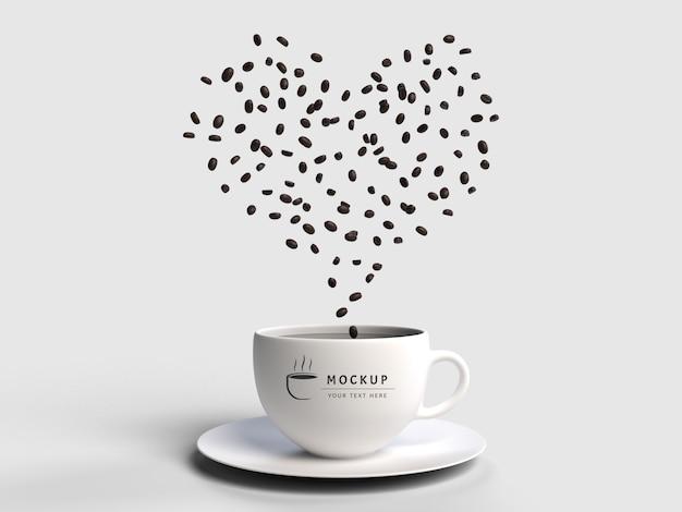 Makieta renderowania 3d rozproszenia nasion kawy na białym tle