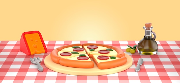 Makieta renderowania smacznej pizzy