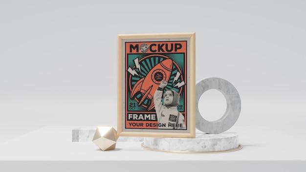 Makieta retro abstrakcyjnej ramki na zdjęcia