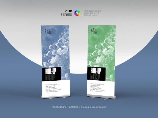 Makieta roll up banner dla twojej firmy w renderowaniu 3d