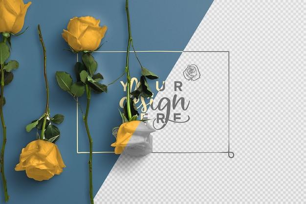 Makieta róż na tle łodygi