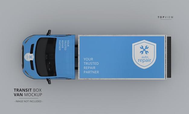 Makieta samochodu dostawczego transit box z widoku z góry