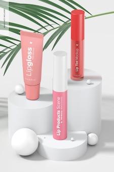 Makieta scen produktów do ust lip