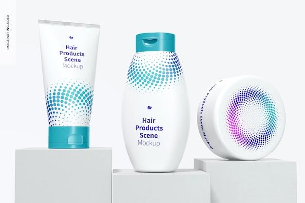 Makieta sceny produktów do włosów, widok z przodu