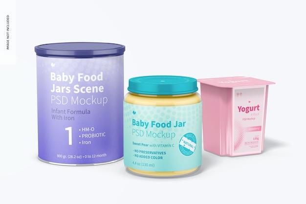 Makieta sceny słoików z jedzeniem dla niemowląt, widok z przodu