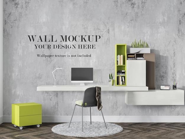 Makieta ściany gabinetu z biurkiem