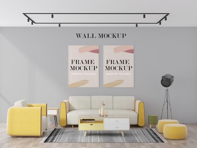 Makieta ściany i ramek w salonie