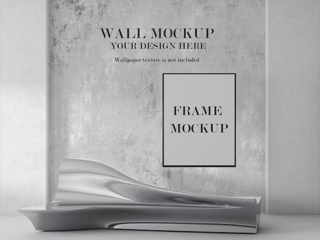 Makieta ściany i ramy w futurystycznym wnętrzu