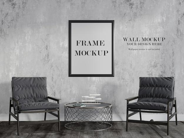 Makieta ściany i ramy w salonie renderowania 3d
