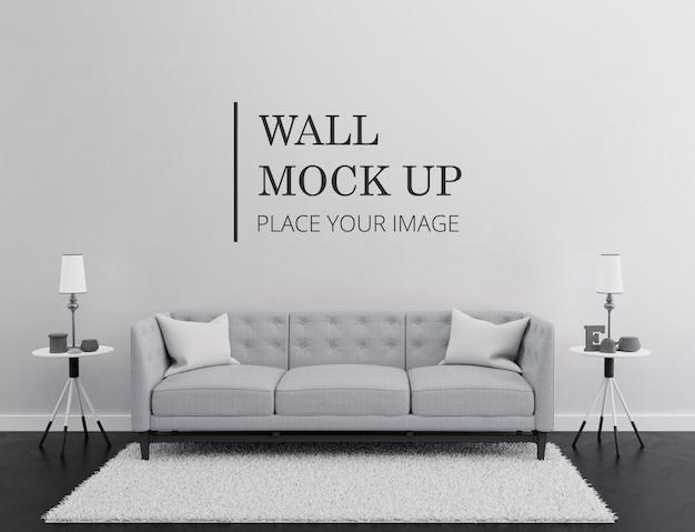 Makieta ściany pokoju - monochromatyczny minimalistyczny nowoczesny salon z sofą