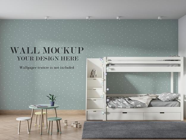 Makieta ściany przedszkola za łóżkiem piętrowym