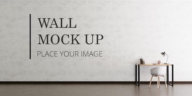 Makieta ściany pustego pokoju z ciemną drewnianą podłogą oraz biurkiem i krzesłem