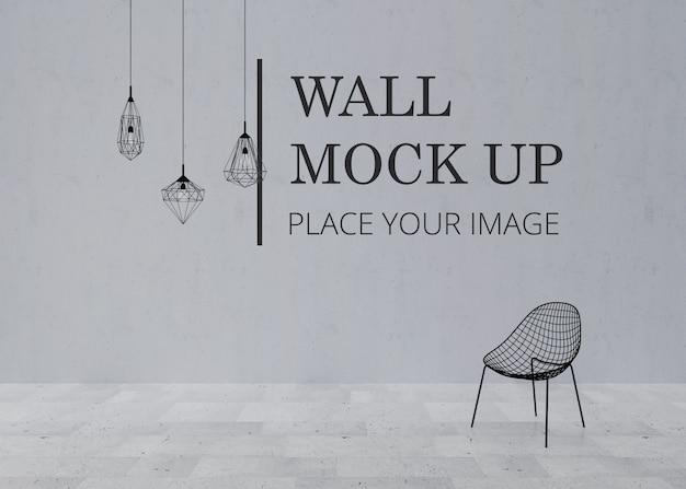 Makieta ściany pustego pokoju z marmurową podłogą i krzesłem z metalowej ramy