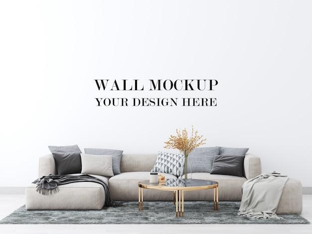 Makieta ściany salonu z dużą wygodną sofą renderowania 3d