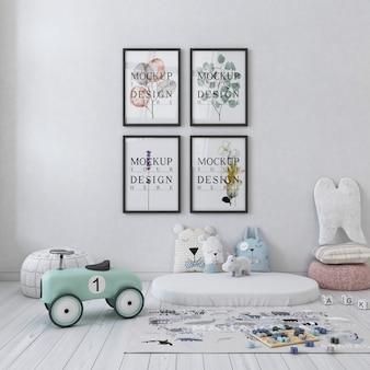 Makieta ściany w białej prostej sypialni dziecięcej