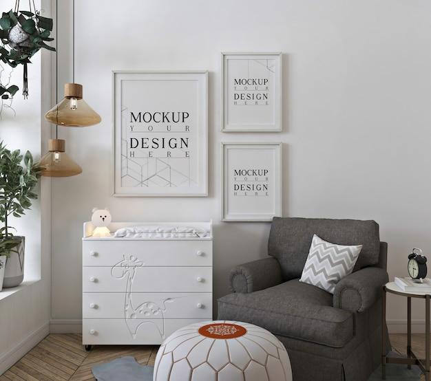 Makieta ściany w białej sypialni dziecka
