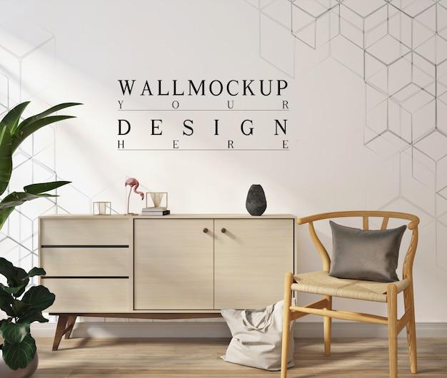 Makieta ściany w nowoczesnym białym salonie z fotelem