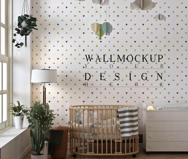Makieta ściany w nowoczesnym i prostym pokoju dziecięcym