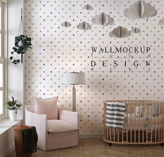 Makieta ściany w nowoczesnym klasycznym pokoju dziecięcym z różowym fotelem