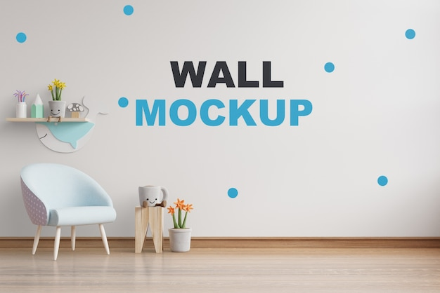 Makieta ściany w pokoju dziecięcym rendering 3d
