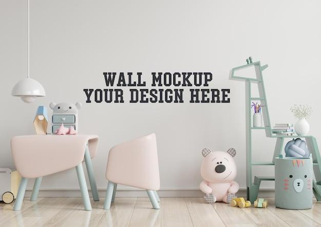 Makieta ściany w pokoju dziecięcym z różową sofą w jasnobiałej ścianie