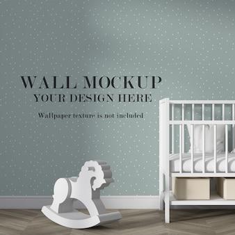 Makieta ściany we wnętrzu pokoju dziecięcego z minimalistycznymi meblami