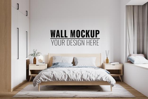 Makieta ściany wewnętrznej sypialni, renderowanie 3d