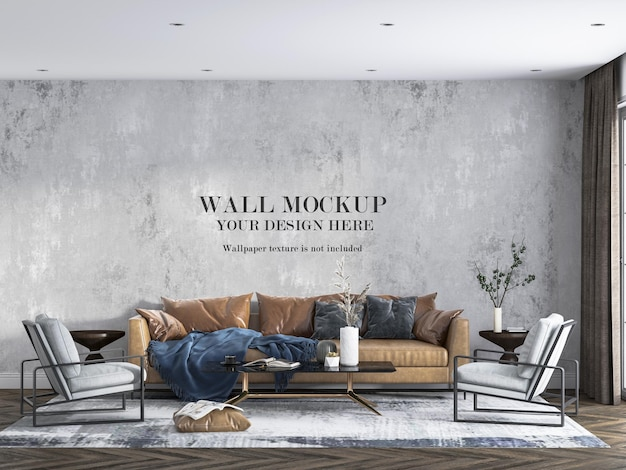 Makieta ściany za rudą skórzaną sofą
