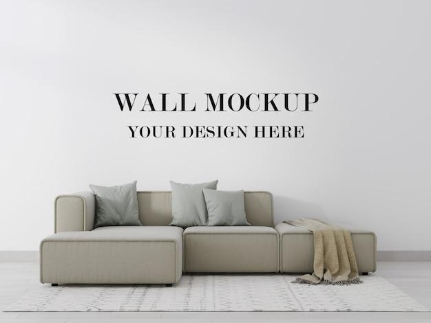 Makieta ściany za współczesnym renderowaniem 3d sofy