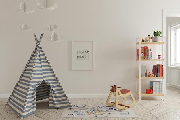 Makieta ścienna i makieta plakatu we wnętrzu pokoju zabaw dla dzieci