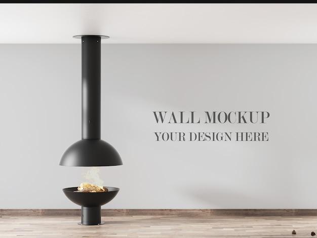 Makieta ścienna o minimalistycznym wystroju wnętrza z kominkiem