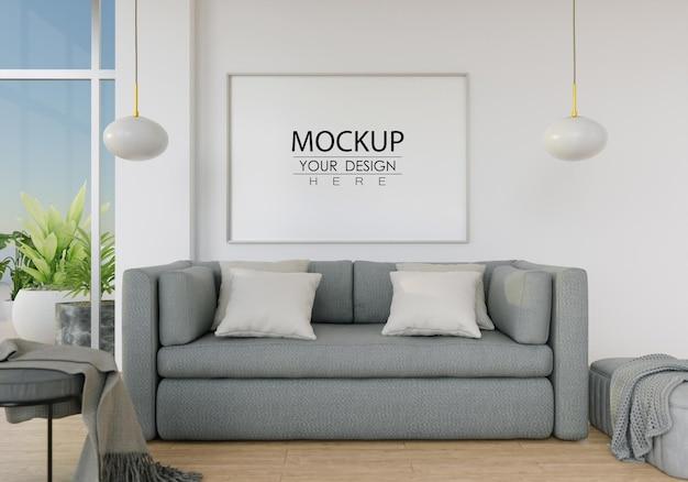 Makieta ścienna, płótno lub ramka na zdjęcia w salonie