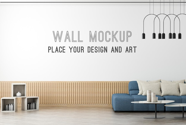 Makieta ścienna renderowania 3d w nowoczesnym salonie z niebieską sofą i jasną ścianą