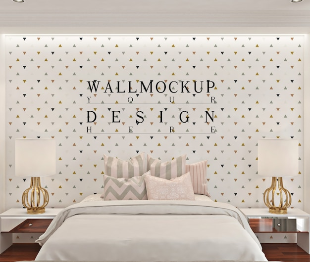 Makieta ścienna w białej nowoczesnej sypialni
