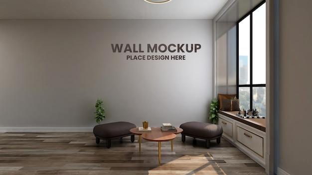Makieta ścienna w eleganckim minimalistycznym salonie wnętrz 3d