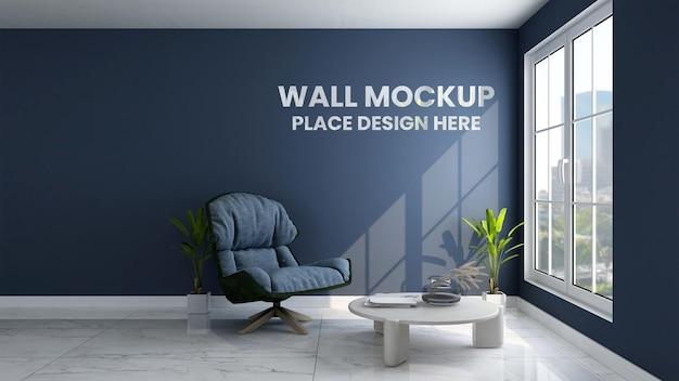 Makieta ścienna w niebieskim minimalistycznym salonie