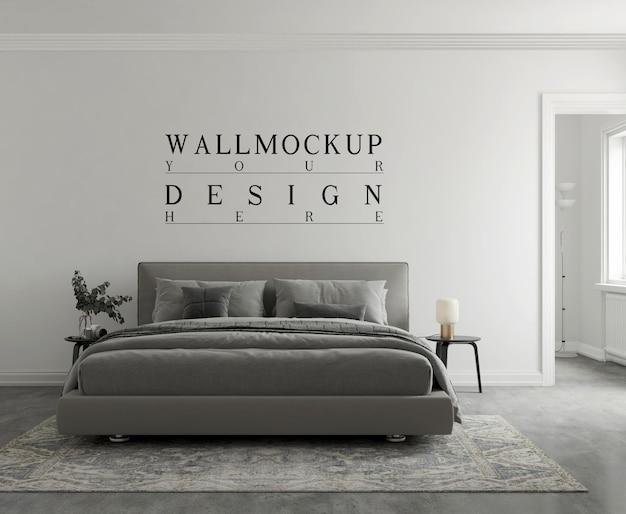 Makieta ścienna w nowoczesnej monochromatycznej sypialni renderowanie 3d