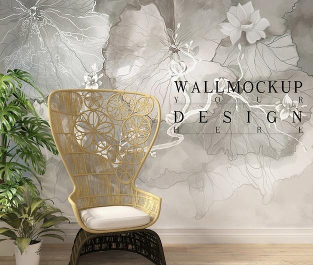 Makieta ścienna w nowoczesnym białym salonie z fotelem i donicą