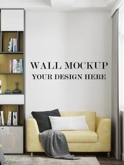 Makieta ścienna w nowoczesnym pokoju o minimalistycznym designie